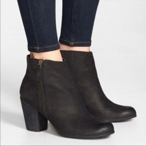 BP. Black Leather Outer Zipper Trolley Booties